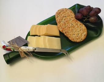 Green Fused Wine Bottle Cheese Tray