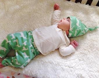 Organic Baby Elk Leggings, Mint, Green, Stretchy, Newborn, Infant,  Nature, Gift, Pants