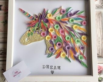 Quilled unicorn! In a 12 x12 in white box frame.
