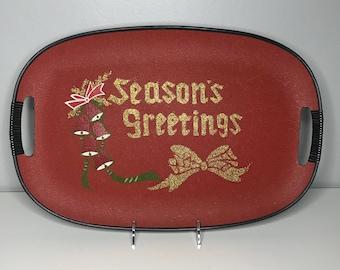 vintage Christmas Seasons Greetings lacquerware tray Made in Japan