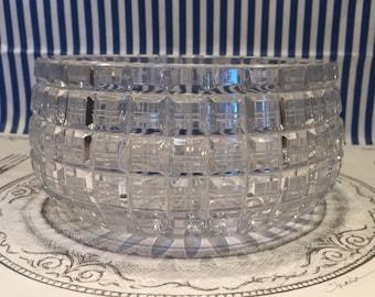 Modern Square Block Cut Crystal Bowl