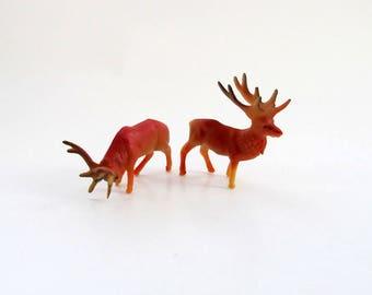 miniature reindeer figurines vintage red deer reindeer miniature vintage deer plastic reindeer - Reindeer Images 2