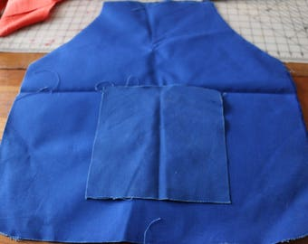 30 Royal blue canvas Apron. Three aprons two matching pockets. Use as pattern and/or stitch it!