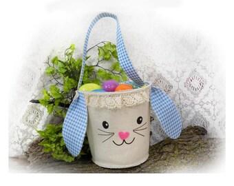 Easter Basket boy -Easter Egg Basket - Easter Egg Hunt Basket - Easter bucket,  bunny Easter basket, Custom Easter, Floppy ear basket- # 11