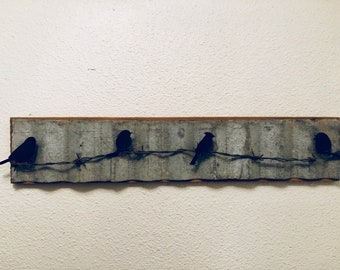 Birds on a Wire corrugated metal wall sign
