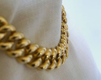 Chunky Curb Chain Necklace//Bling// Gold Tone Choker //Vintage Estate Jewelry //Man Chain//Runway//Gold Tone Collar//Evening Wear//EPsteam