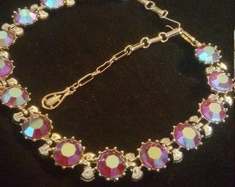 "Sale15% Off. Vintage Large Aurora Borealis Rhinestone Choker Necklace By ""Coro """