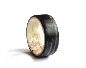Antler Men Ring, Blue wood  Wedding band, Unisex Ring, Navy Blue Ring