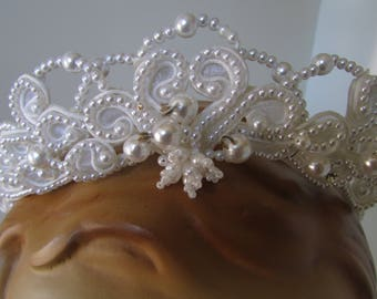 Vintage Wedding Veil 1960's Faux Pearls Tiara Headband Wedding Veil headdress