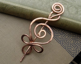 Celtic Budding Spiral Copper Shawl Pin, Copper Pin Scarf Pin, Sweater Pin Brooches, Cardigan Fastener Closure Hair Pin Knitters Accessories