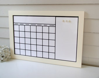 Dry Erase Calendar Organizer with Our Handmade Solid Wood Frame 17 x 25 Magnetic Board Family Message Schedule Center - Bulletin Board