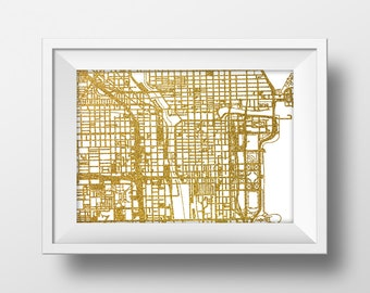 Gold glitter Chicago map, printable map wall art Chicago downtown map print gold map poster printable map instant download map, poster