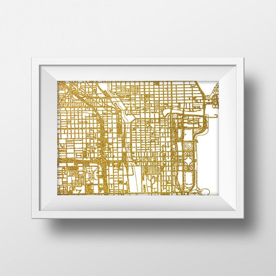 Gold glitter Chicago map printable map wall art Chicago