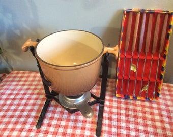 Vintage LE CREUSET Fondue Set, Beige Enamel Fondue Pot, Fondue Set Le Creuset including 6 forks