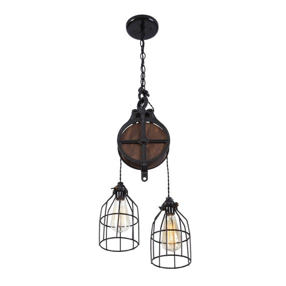 The Rustic Sailor Pulley Pendant Light Wooden Pulley By: Ceiling Light Lighting Fixture Rustic Light Fixture
