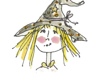 """WITCHY POO...Clipart / Digital Download / 300 dpi/ hi resolution of Original Watercolor . 8""""x10"""" Great for any application."""