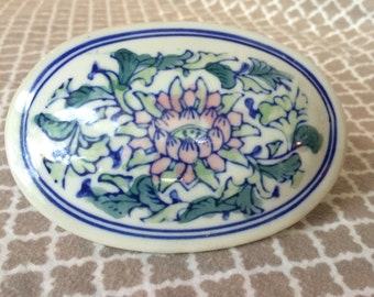Vintage chinese trinket dish - pink lotus - geenery - blue detail - made in china