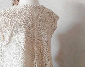 Hand Knit Lace Linen Cotton Vest - Layering Piece, Airy, Light, Original Design. Women's Fall Fashion. Scapulae Vest. Boho, Lace, Rustic.