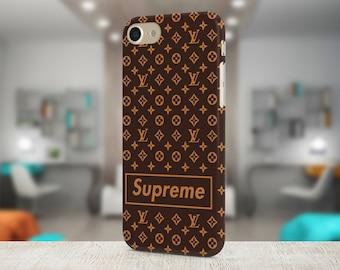 Supreme & Louis Vuitton Brand Cover Iphone X case Samsung case Brown Galaxy case Google Pixel case Luxury case LV cover Gifts Iphone 8 case