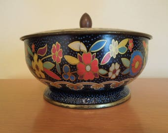 Lidded Tin Floral Embellishment Made in England