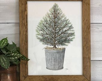 Season's Greeting Tree-Original Hand-painted Artwork