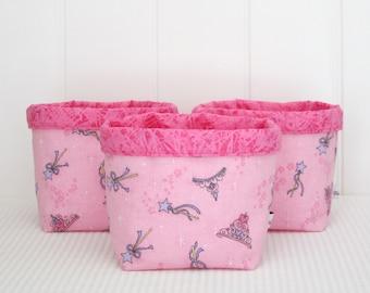 Fabric Storage Baskets / Storage Bins /  Toy Storage - Sparkle Wands Tiaras - Set of 3 Medium