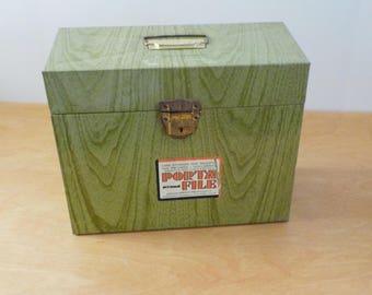 Vintage Green Faux Bois Porta File • Wood Grain Metal File Box • Ballonoff File Box