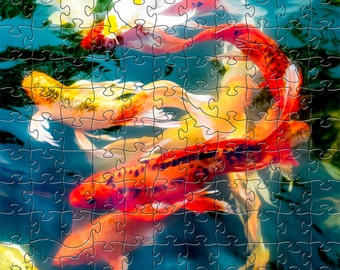 Koi Zen Puzzle - Hand crafted, eco-friendly, American made artisanal wooden jigsaw puzzle