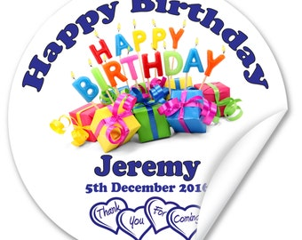 Personalised Birthday Stickers / Seals, Full Colour Gloss 38mm, Boy