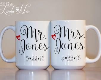 Mr. and Mrs. Mug, Bridal Shower Gift, Wedding Mug, Wedding Anniversary, His and Hers Mug, Bride and Groom Gift, Couples Coffee Mug Set MPH42