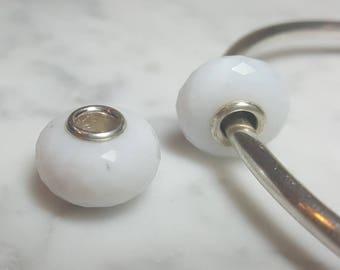 White Opal Gemstone European Bead