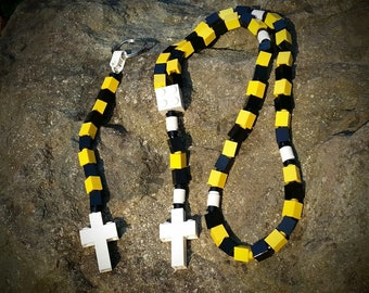 Boy's First Communion Gift Special-Lego Rosary and Lego Chaplet - The Original MementoMoose Catholic Lego Rosary - Yellow, Black and White