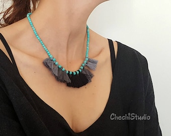 Turquoise Beaded Boho Tassel Necklace, Gypsy Necklace, Tassel Statement Necklace, Gift for Her