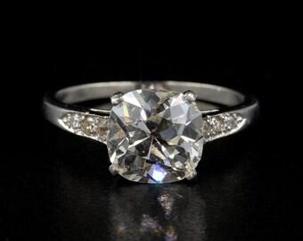 Reserved Stunning Art Deco 3.0 Carat Plus Cushion Old Mine Cut Diamond Platinum ring Reserved