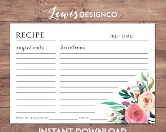 Printable File Floral Recipe Cards, Bridal Shower Invitation Insert, pdf jpg INSTANT DOWNLOAD DIY