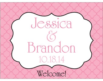 24 - 4x3 Glossy Waterproof Wedding Welcome Bag Stickers - hundreds of designs to choose - change designs to any color or wording WG005