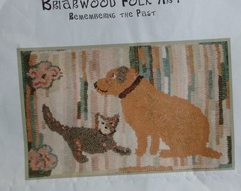"Rug hooking pattern ""olde cat and dog"""