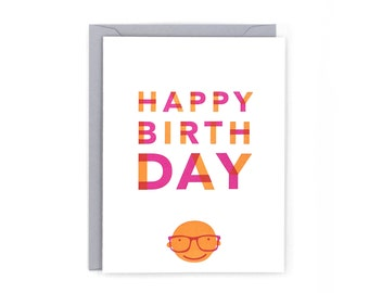Glasses Birthday Letterpress Card