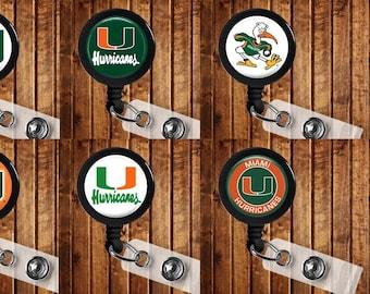 Miami Hurricanes Badge Reel ID Holder NCAA College Sports