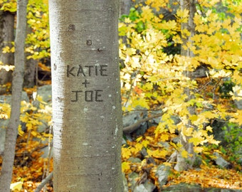 Custom Wall Art, Fall Home Decor, Names and Date Carved in Tree, Romantic Gift, Autumn Wedding Gift, Holiday Gift for Couple