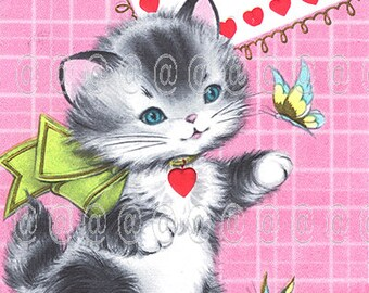 Digital download vintage Valentine card, kitten swatting butterfly, pink, hearts, bow