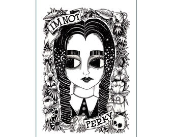 A3 Art Print | Wednesday Addams | Black White Illustration Hand Lettering