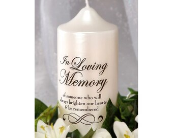 Two (2 Pc.) Decal For A Memorial Candle, In Loving Memory, Wedding Remembrance Candle Decal