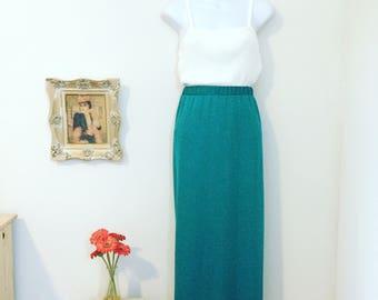 90s Metallic Teal Maxi Skirt Size Medium