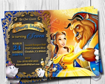 Beauty and the Beast Invitation, Princess Belle Invitations, Belle Invitation, Digital File, You Print