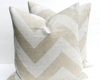 15% Off Sale Decorative Pillow Cover. Ikat Pillow. Lumbar Pillow cover Burlap Pillow. ONE Chevron Taupe Tan Cream Printed fabric both sides