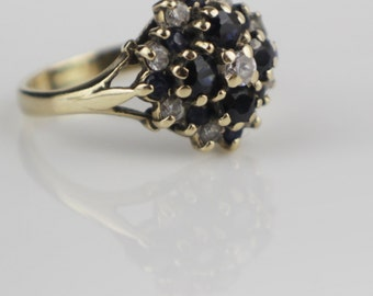 Pretty 1980s Sapphire and CZ  9ct Gold Domed Cluster Ladies Ring Size UK K  and US 5.25