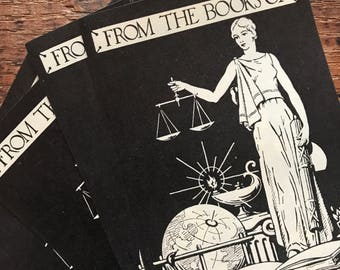 Vintage Bookplates - Set of 5 - Vintage Lady Justice, Ex Libris Bookplates, Vintage Book Plates, Book Labels, From the Library, Book Sticker