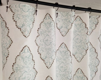 Shower curtain Fabric Shower Curtain Monroe Snowy blue Grey long Shower curtain Extra Wide shower curtain 72 x 84 108 wide shower curtain