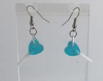 Small blue heart Lollipop earrings lolly resin cast , pendant charms handmade. By Emily M A Parkin